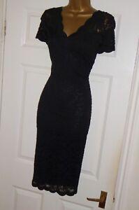 Stretchy black vintage lace 40s 50s pencil wiggle evening cocktail dress size 22
