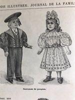 MODE ILLUSTREE SEWING PATTERN Nov 17,1895 DOLL COSTUME , VELVET DRESS