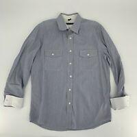 Theory Mens Long Sleeve Dress Shirt Size L Blue Stripe Timon Button Down Cotton