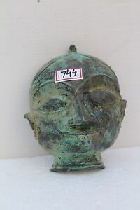 Antique Old Hand Crafted Brass Hindu Goddess Parvati Gauri Face Head Mask NH1744