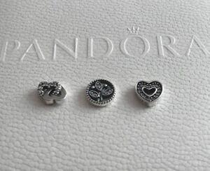 Genuine Pandora S.Silver Love & Family Petite Floating Locket Charms Set
