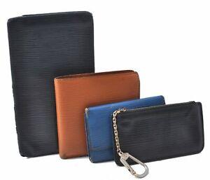 Auth Louis Vuitton Epi Wallet Key Case Coin Case Black Blue Brown 4Set LV C3917