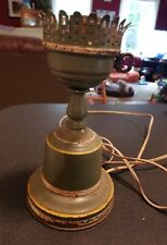 MCM Vtg. GREEN TOLEWARE TABLE LAMP COTTAGE CHIC SHABBY! Toleware