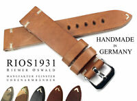 22mm /18 RIOS1931 Handmad GERMANY Genuine Leather Vintage Style Watch Strap Band