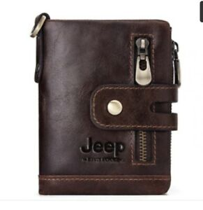 Mens leather card holder genuine / Coin ID bifold brown wallet JEEP * 🇬🇧seller