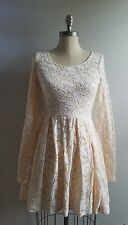 Free People Cream / Peach Lace Pleated Skater Dress Size XS