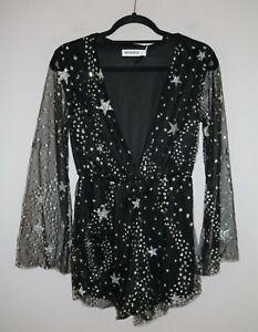Reverse Brand Long Sleeve Black Star Pattern Playsuit Size S BNWT #SC07