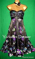 New MONSOON Black Floral Silk RUBY Evening Prom Strapless Bustier Dress - Uk 8
