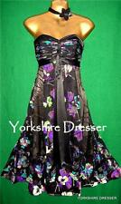New MONSOON Uk 8 Black Floral Silk RUBY Evening Prom Strapless Bustier Dress