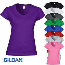 Gildan V-NECK T-SHIRT LADIES TOP TEE SOFT RING-SPUN COTTON FIT S-2XL WOMEN OFFER