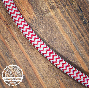Vintage fabric Red & White braided cable three core retro pendant wire