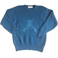 Pringle Sports Nick Faldo Vintage Mens Golf Blue 100% Wool Jumper Size M