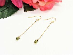 Lovely! 1/20 14K Yellow Gold & Faceted Green Olivine Stone Dangle Earrings!