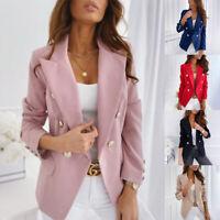 Women Button Slim Fit Blazer OL Office Jacket Long Sleeve Outwear Suit Coat