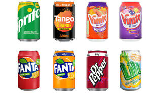 fanta vimto lilt tango fanta dr pepper pepsi max of 24 330 ml Cans Fizzy Drink