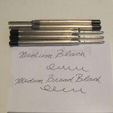 5 TERZETTI BLACK BALLPOINT REFILLS-MEDIUM - fit PARKER pen- METAL BODY+free PEN