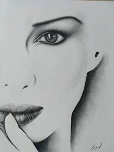 Female Face Pencil Drawing Original Signed Picture Art Eye Lips