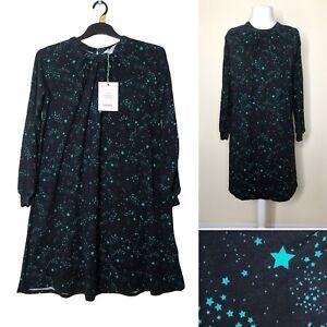 People Tree Dress UK 12 Black Green STAR PRINT Long Sleeve ORGANIC COTTON New