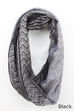 Fashion Two-tone yarn dye chevron Infinity Scarf 2-Circle Wrap Soft Black