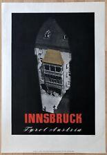 Original Vintage Poster INNSBRUCK TYROL AUSTRIA Austrian Airline Travel 1940s
