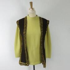 Vintage Ladies Clothing - Crimplene Top with Woolen Cardigan Waistcoat