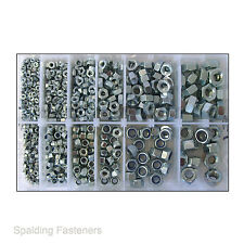 Assorted M3, M4, M5, M6, M8 & M10 Metric Zinc Plated Full Nuts & Nyloc Nuts