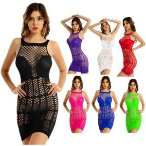 Women's Fishnet Hollow Out See-through Mesh Sleeveless Babydoll Mini Short Dress