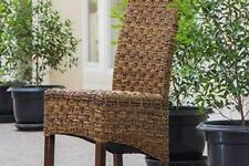 Manila Abaca and Rattan Wicker Basket Weave Dining Chair with Mahogany Hardwo...