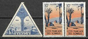 1943,1947 FRENCH SOMALI COAST SET OF 3 MLH STAMPS (Michel # 261,285)
