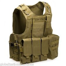 Tactical Military Swat Battle Airsoft Molle Combat Assault Plate Carrier Vest
