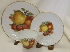 Old Nuremburg China Trio Cup Saucer Plate Fruit Design Apples Strawberries