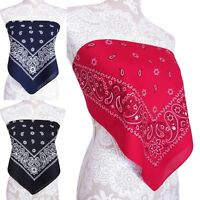 Bandana Crop Top Shirt - Womens Clothing - Red Blue Black White - One Size New