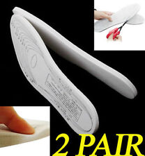 Two 2 Pair Memory Foam Insoles Shoe Unisex 1 Size Fit Most Cushion Foot Pad Heel