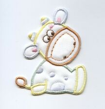 Iron On Embroidered Applique Patch Childrens Pastel Puffy Baby Cow