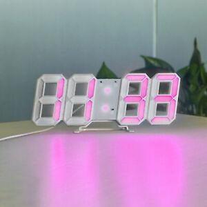 Modern Digital 3D LED Wall Clock Alarm Clock Snooze 12/24 Hour Display USB US