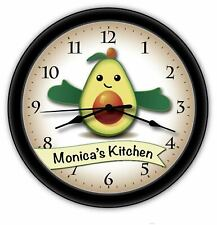 Happy Avocado PERSONALIZED Wall Clock - Kitchen Cook Guacamole Home Decor - GIFT
