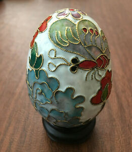 Chinese Vintage Handmade White Cloisonne Enamel Brass Copper Egg with Wood Stand