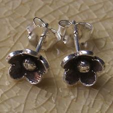 Handmade Black Flower Earring Pure Silver 925 Karen Hill tribe gift silver
