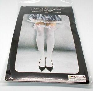 "HAPPY HALLOWEEN Knee/Thigh High Socks 28.35"" One Size WHITE/PINK Bows NIP"