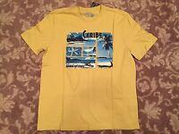MARGARITAVILLE men's graphic t-shirt YELLOW island getaway ~ sz MEDIUM