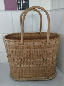 """Vintage Wicker Shopping Basket with 2 X Hinged Handles 11"""" tall x 13"""" long 8"""" W"""