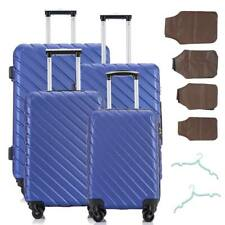 4PC Luggage Set Travel Bag Trolley Spinner ABS Business Hard Shell Suitcase Blue