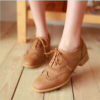 Hot Brogue Women Lace Up Wing Tip Oxford College Style Flat Fashion Shoes Big Sz