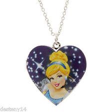 Disney Princess Cinderella Girls Heart Locket Pendant Necklace Silver Chain New