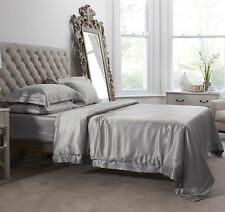 Jasmine Silk 6PCs 100% Charmeuse Silk Duvet Cover Set Grey King
