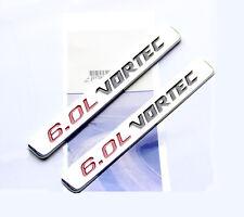 2x OEM Chrome 6.0L VORTEC HOOD emblem Badge decal Silverado Chevy 1500 2500 HD W