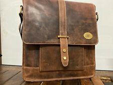 """13"""" Women's Bull's Hide Leather Vintage Satchel Messenger Cross Body Large Bag"""