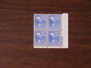 United States Sc # 816 Prezy 11c Pl # Block Stamps Nice condition  1938  s105
