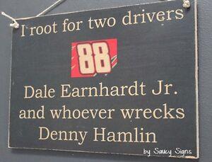 Dale Earnhardt Jr wrecks Denny Hamlin Driver Sign Racing Bar Man Cave Rare