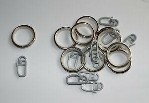 10 runde Gardinenringe mit Gleiteinlage für Edelstahl Vorhangstangen 16 - 20 mm